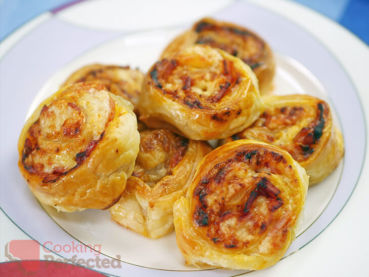 Puff Pastry Pizza Scrolls Cheese and Bacon