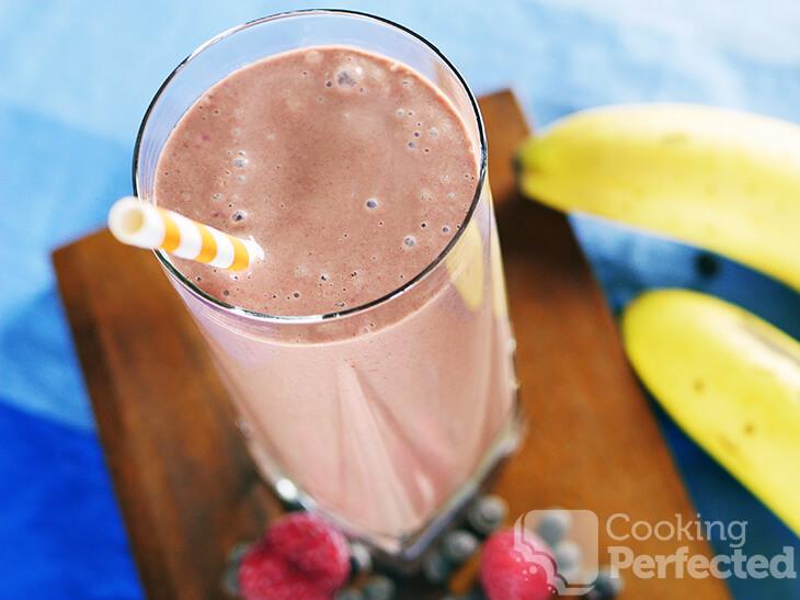 Chocolate Raspberry Banana Smoothie with Milk and Yogurt
