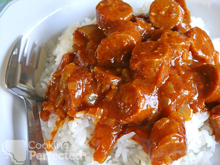 Easy Curried Sausages and Rice