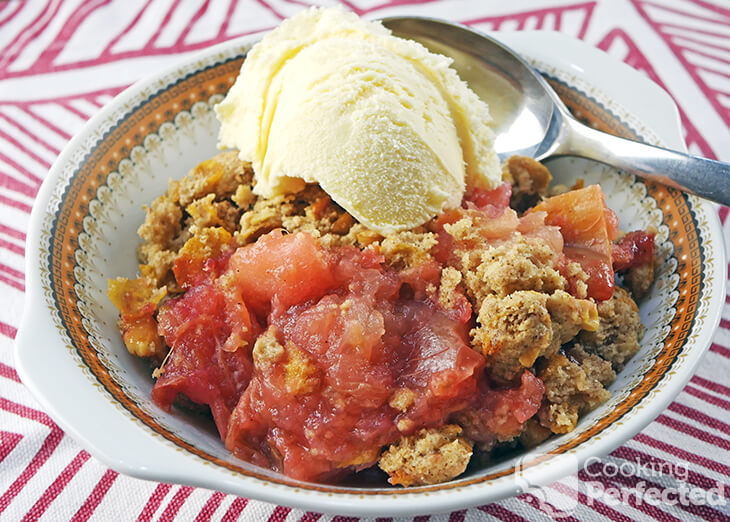 Gluten-Free Rhubarb Crisp with Ice Cream