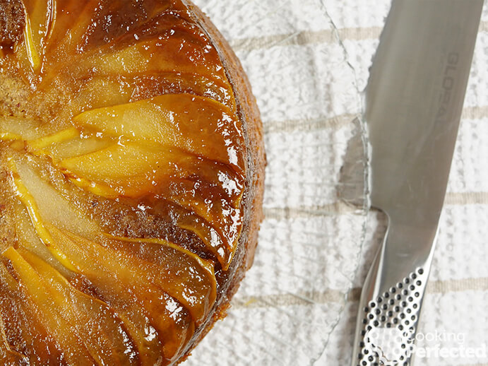 Upside-down pear cake ready to serve