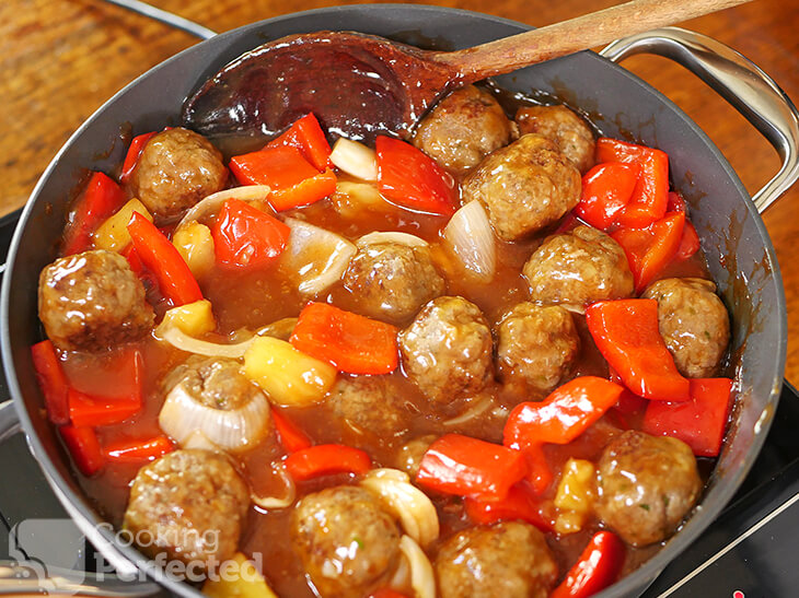 Meatballs and Vegetables with Sweet and Sour Sauce