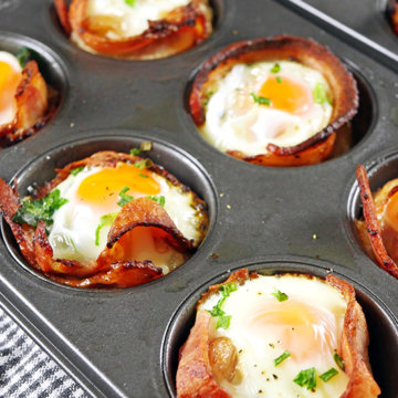 Bacon and Egg Cups in a Muffin Tray