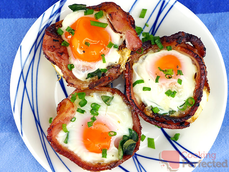 Oven Baked Bacon and Egg Cups with Chives