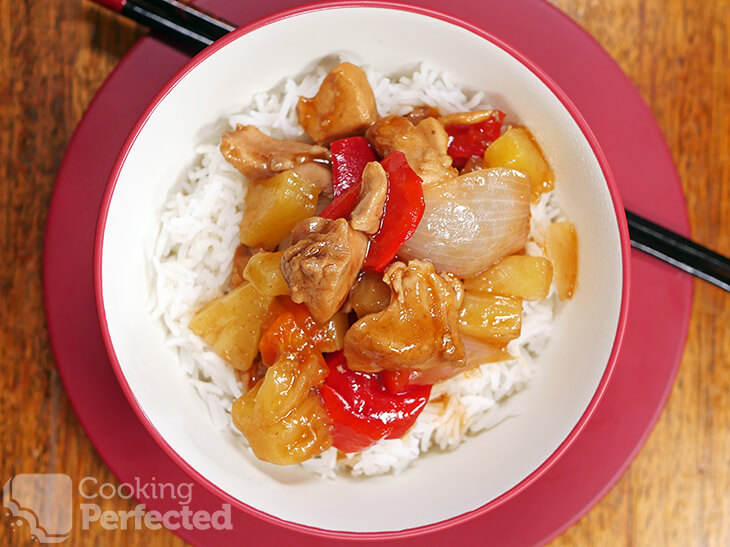 Sweet and Sour Chicken Served over Rice