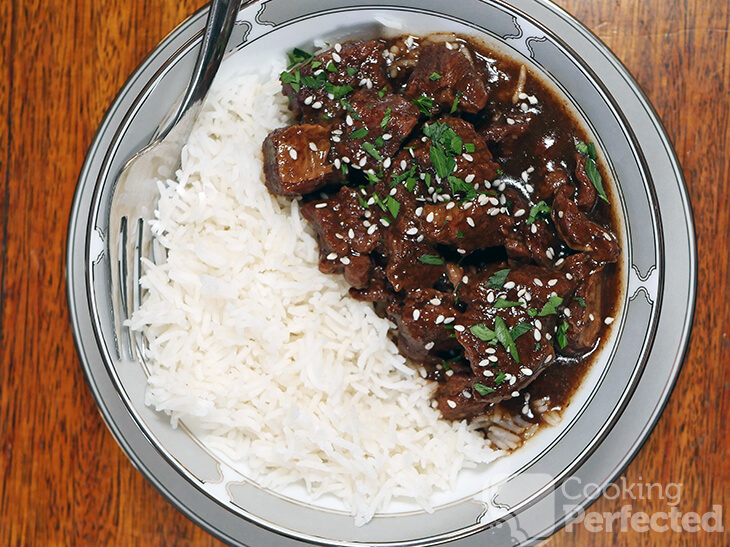 Korean Beef served with Rice