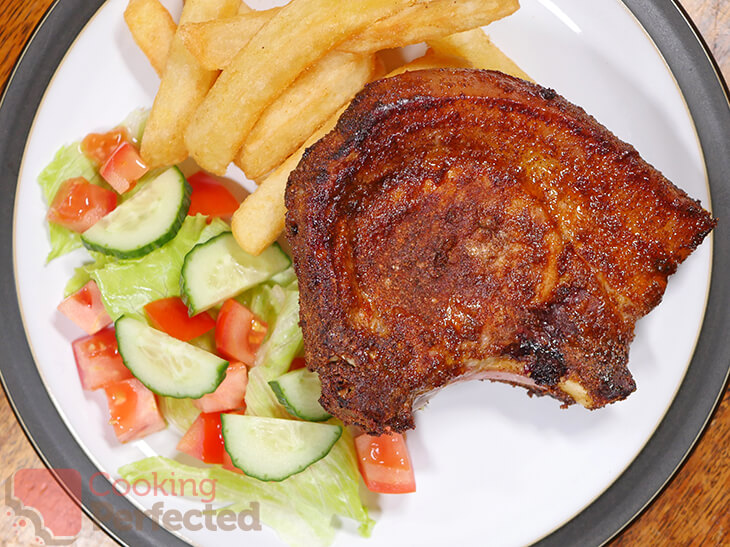 Air Fryer Por Chops with Chips and Salad