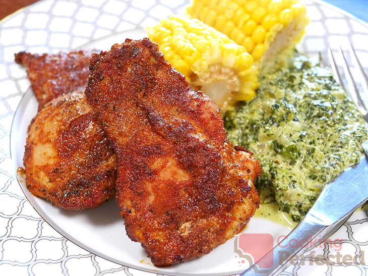 Air Fryer Seasoned Chicken Thighs with Creamed Spinach and Corn
