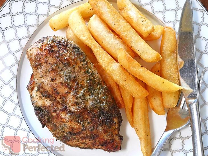 Seasoned Air Fried Chicken Breasts with Steak Fries