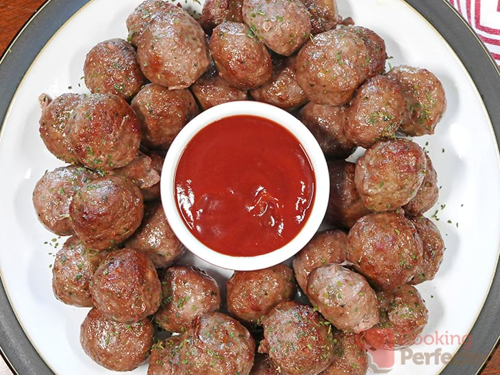 Air Fried Frozen Meatballs served with ketchup