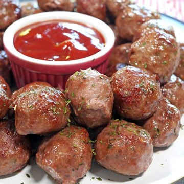 Cooked Frozen Meatballs from out of the Air Fryer