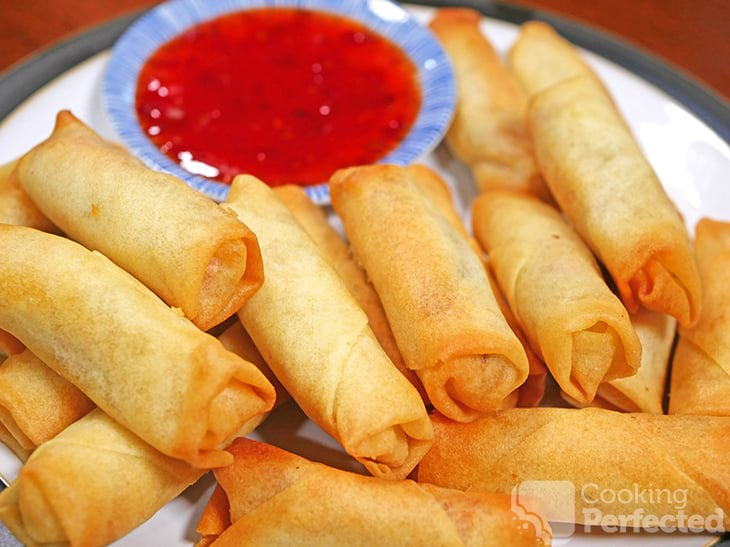 Air Fried Spring Rolls served with Sweet Chili Sauce