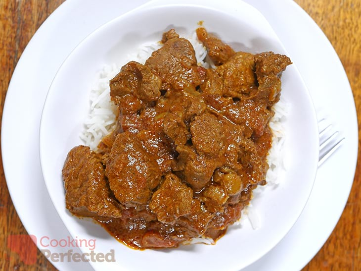 Pressure Cooker Beef Rogan Josh with Steamed Rice