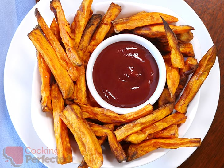 Air-Fried Sweet Potato Fries with Ketchup
