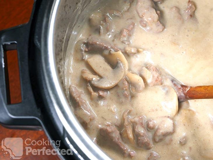 Beef Stroganoff cooking in the Instant Pot