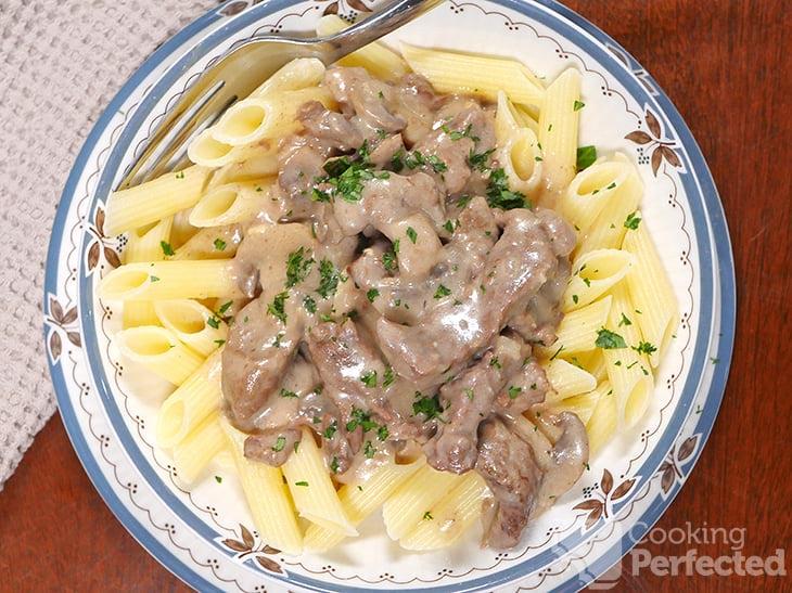 Beef Stroganoff Served with Pasta