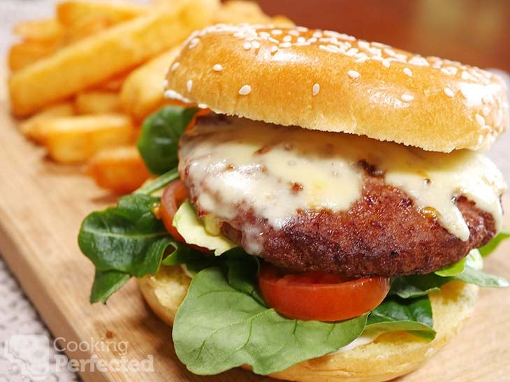 Air-Fried burger with large cut Fries