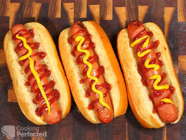Air-Fried Hot Dogs served with Ketchup and Mustard