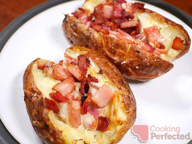 Loaded Potatoes with Cheese and Bacon Cooked in the Air Fryer